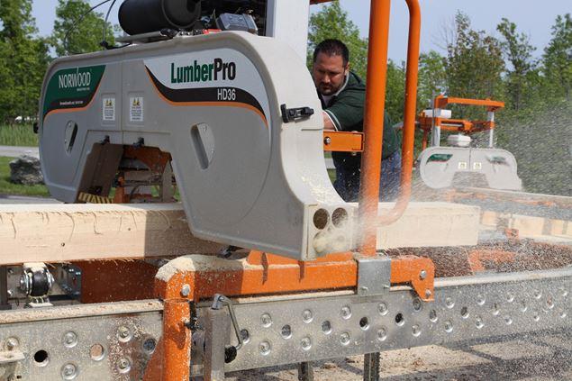 Lumbermate Lm29 Portable Sawmill Cutting Douglas Fir